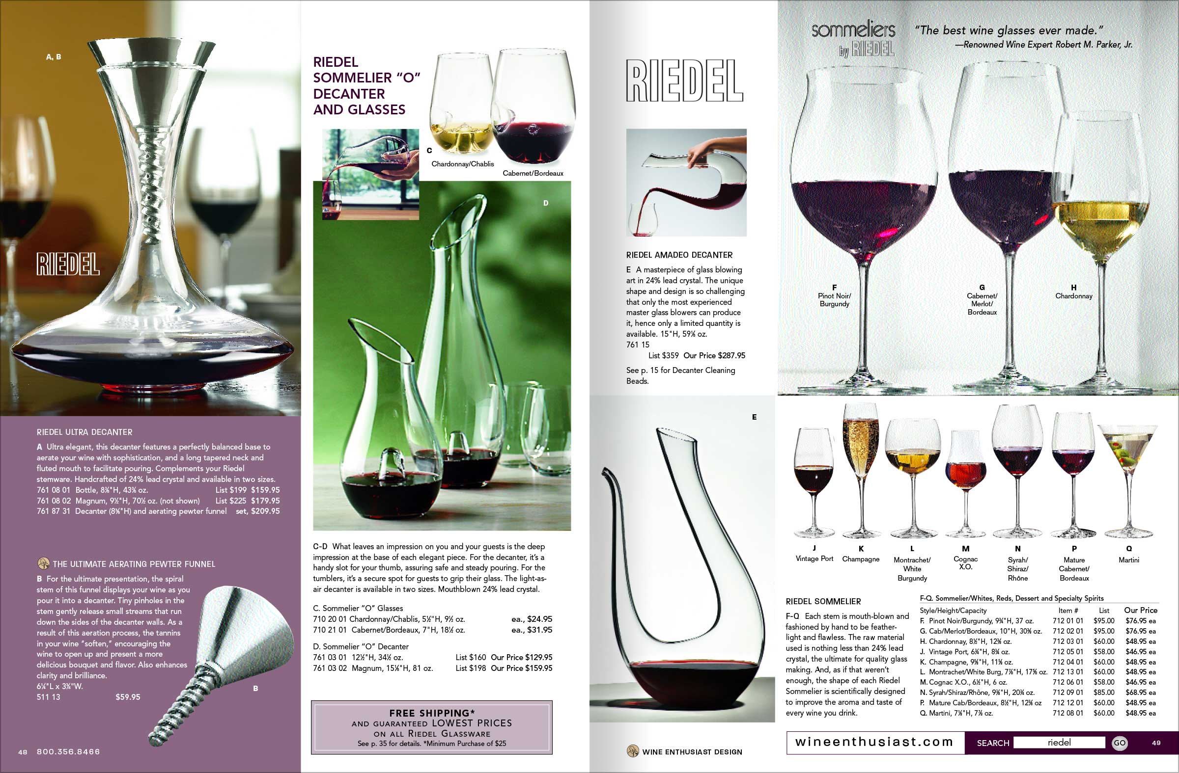 Catalog Layout, wine and spirits related accessories