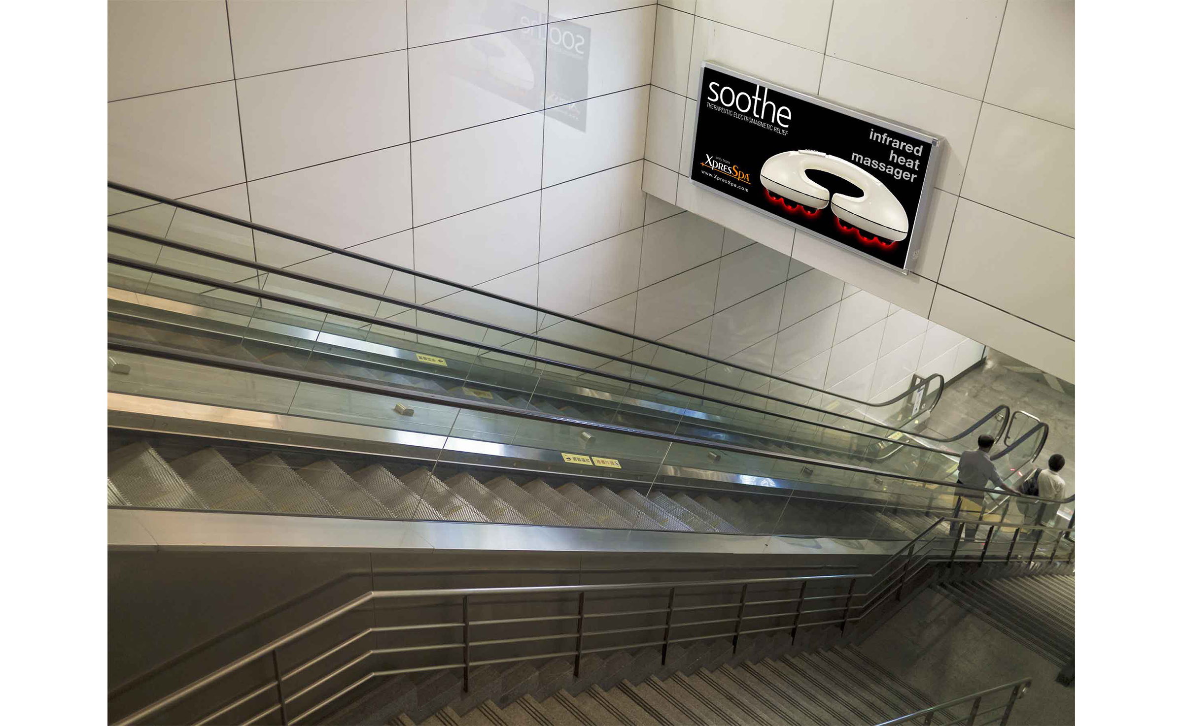 horizontal poster on above escalator