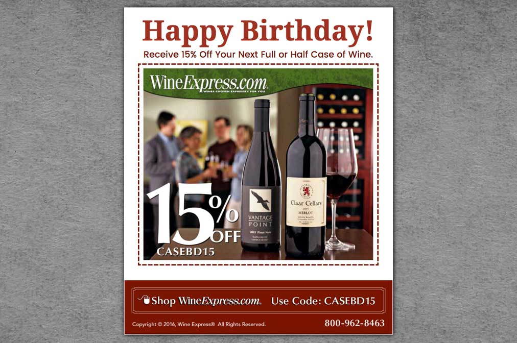 Wine Express Birthday Email Promotion Design